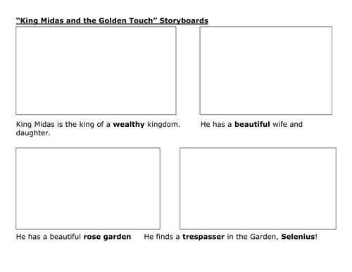 King Midas and the Golden Touch Storyboards