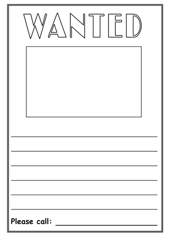 Book Cover Template Tes : Wanted poster creative writing by cal teaching
