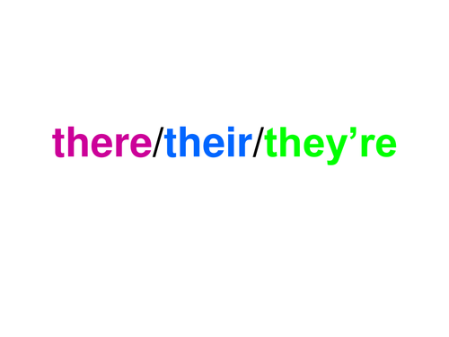 Homophones: their / there / they're