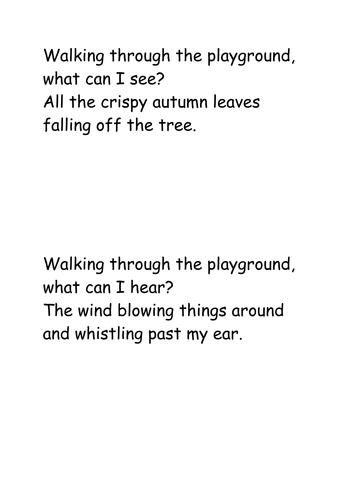"""Walking through the playground"" Fall/Winter poem"