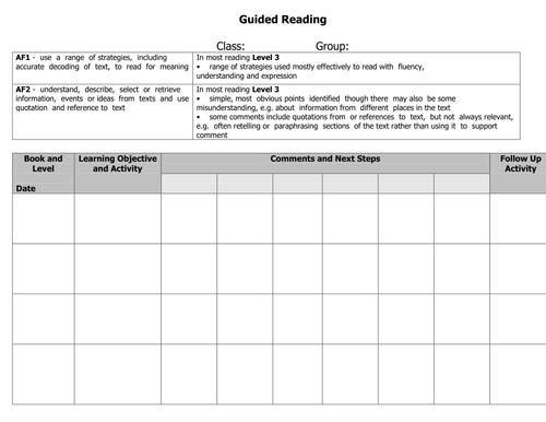 Guided Reading Record Sheet (small groups)