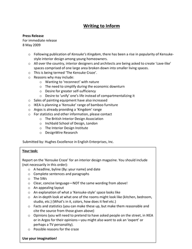 Kensuke's Kingdom - Writing to Inform Activity