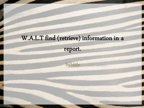 Zebra Information PowerPoint