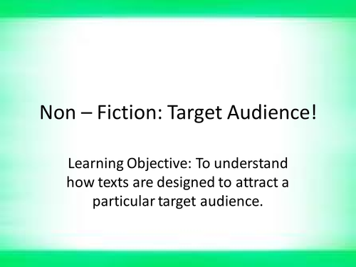 non fiction texts- target audience