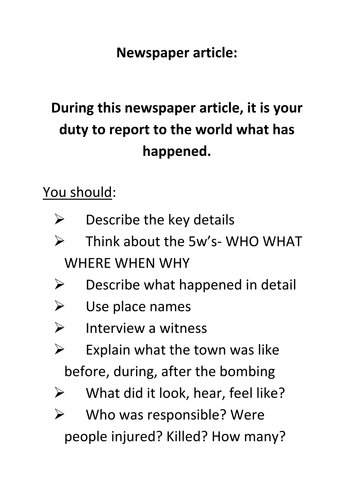 non fiction texts- newspaper article guide.