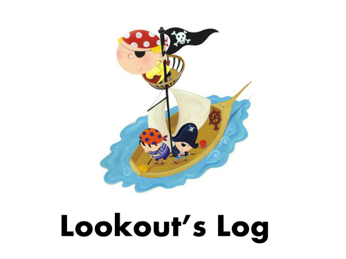 Pirates topic log book writing frame