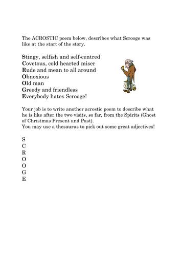 Scrooge Acrostic Poem