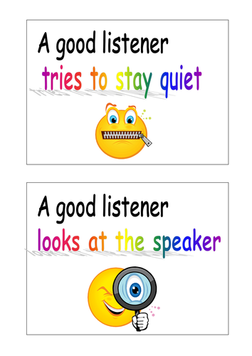Cards to encourage good listening