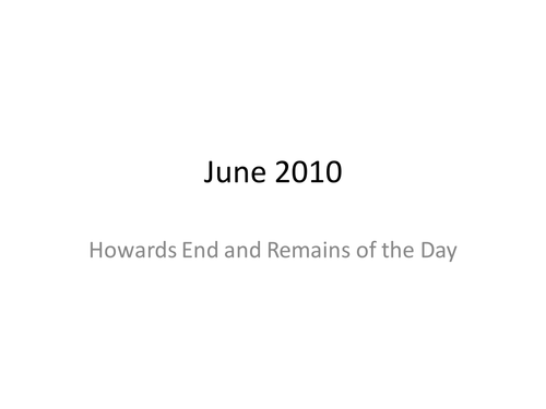 Social Duty in Howards End & Remains of the Day