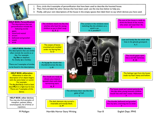 Amazing devices activity sheet on the Horror genre