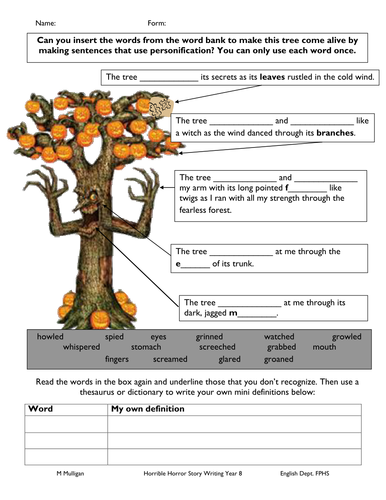 Personification handout for below level students