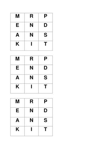 Holes wordsquare Pendanski