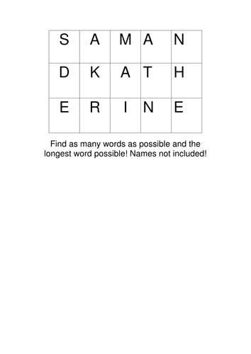 Holes wordsquare starter
