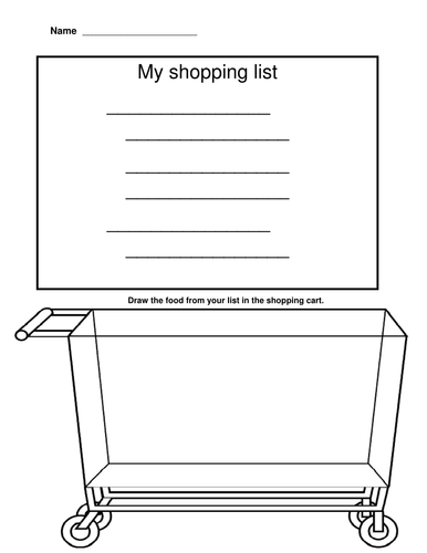 Shopping list/color/write words
