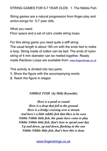 STRING GAMES FOR 5-7 YEAR OLDS:  1. The Nibble Fish