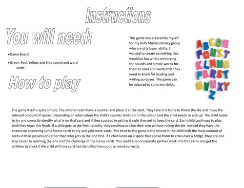 Ruth Miskin Game Board (Word Document Version)