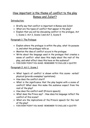 Romeo and Juliet - conflict assignment