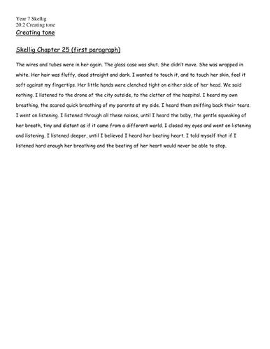 Skellig- extract to use when explaining tone