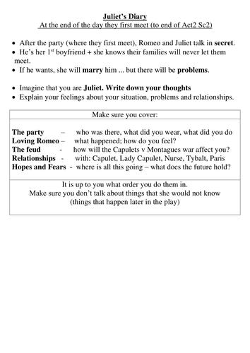 Romeo and Juliet - Diary task