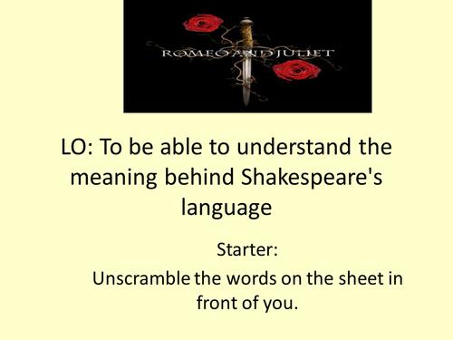 Romeo and Juliet- understanding Shakespeare's language
