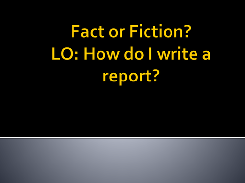 Creative writing- writing a report