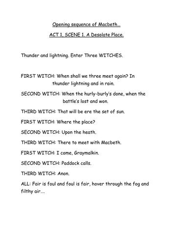 Macbeth- opening