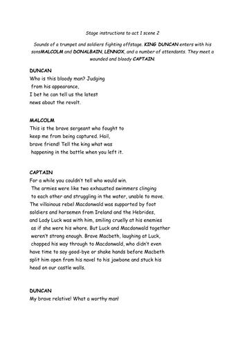 Macbeth- Act 1; scene 2 modern