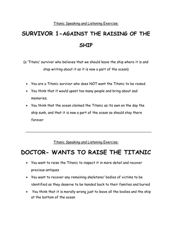 Titanic S&L debate