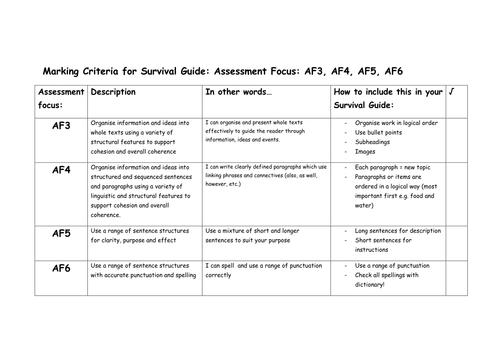 Survival guide assessment criteria
