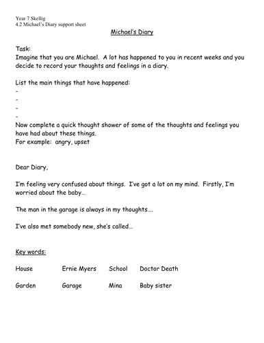 Skellig- Diary task details