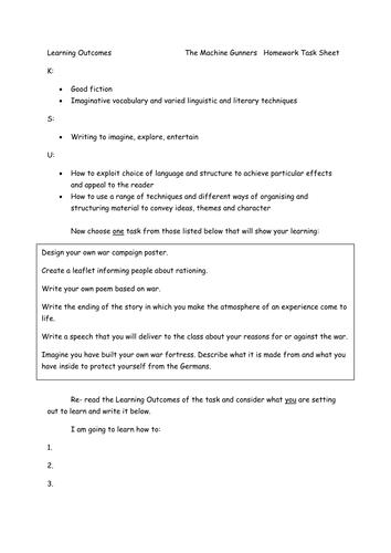The Machine Gunners homework sheet