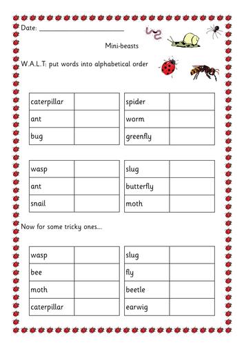 Bugs alphabetical order