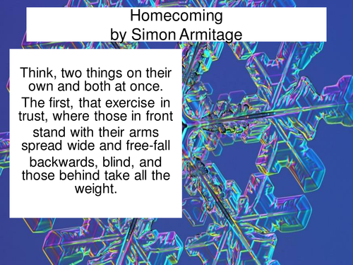 Homecoming by Simon Armitage as a PowerPoint with related questions and key points