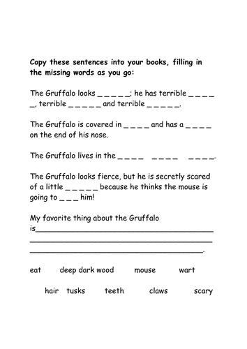 Cloze Activity The Gruffalo By Julia Donaldson By