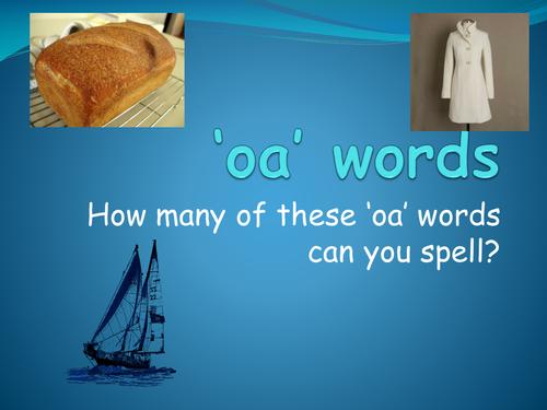 'oa' words PowerPoint