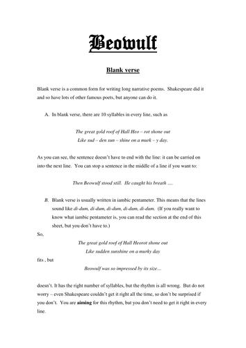 Beowulf Blank Verse Handout