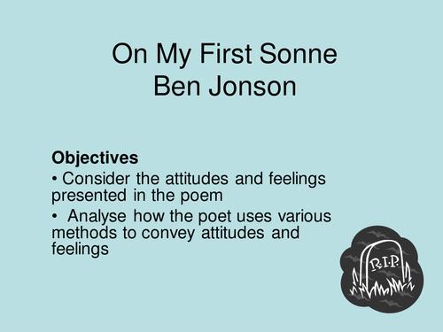 'On My First Sonne' by Ben Jonson