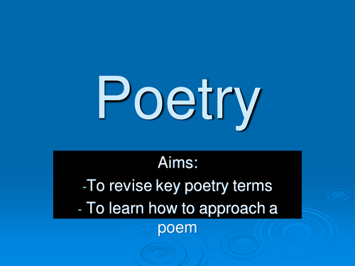 Approaching poetry.