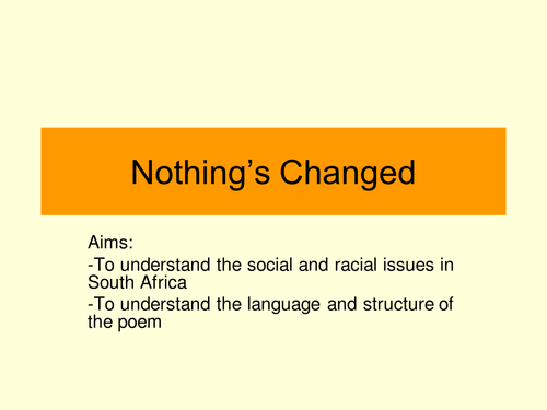 Nothing's Changed- poems from Other Cultures.