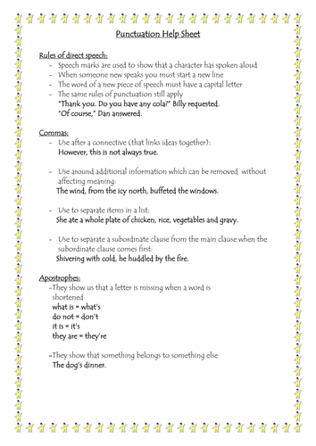 Punctuation Help Sheet