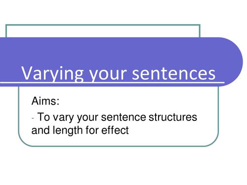 Descriptive writing- sentence structure