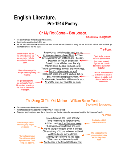 Pre 1914 English Literature Poetry
