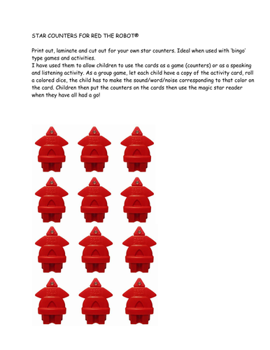 Red the Robot counters and cards