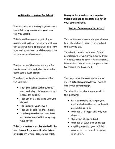 Creating an Advertisement - Assessment piece