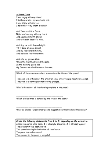 """Discussion handout on """"A Poison Tree"""" - Blake"""