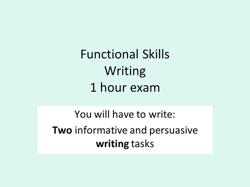 Functional skills- writing prep