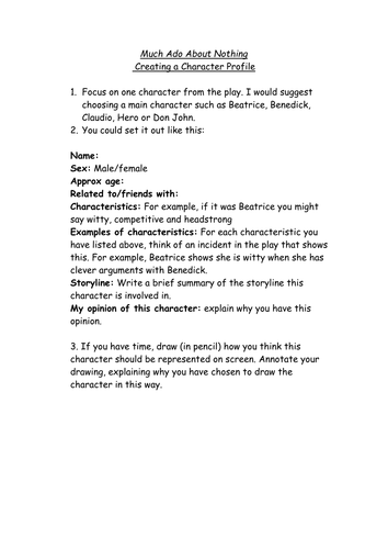 Character profiles- Much Ado