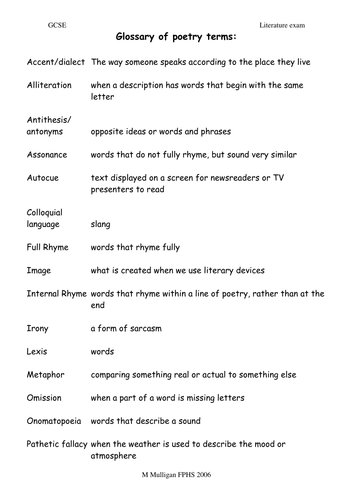 Glossary of poetic devices/ terms