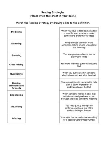 Heroes scheme lesson 1 reading strategies