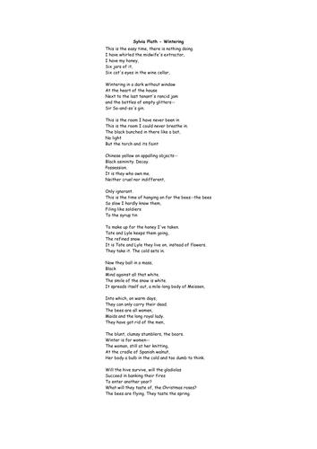 """""""Wintering"""" Sylvia Plath - true or false quiz"""